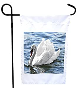 Rikki Knight White Swan House or Garden Flag with 11 x 11-Inch Image, 12 x 18-Inch