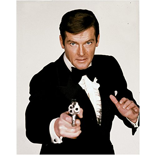 Roger Moore As James Bond 007 Close Up Aiming Gun In Tux 8 X