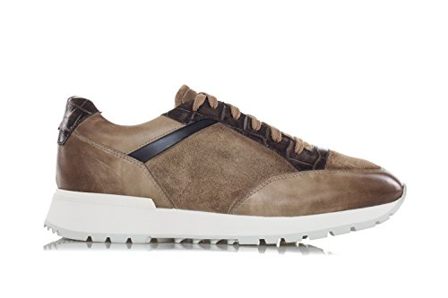 Scarpe Da Uomo Santoni Sneakers In Pelle Lavata E Pelle Scamosciata Marrone