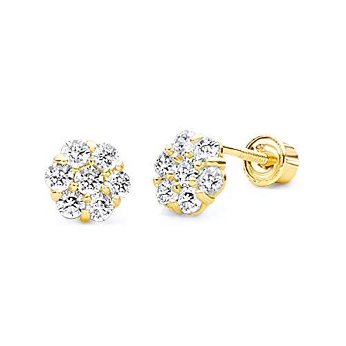 14k Yellow Gold Flower Stud Earrings with Screw Back