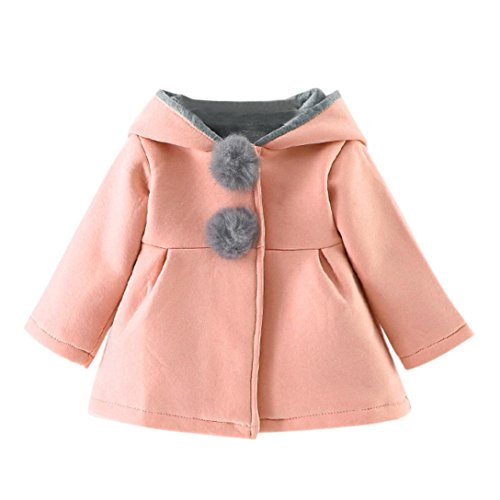 Meyerlbama Rabbit Ears Hoodie Girls Coat Baby Winter Warm Jackets Faux Fur Pompoms Decor (Pink, 30M)