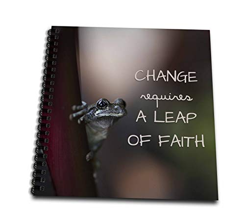3dRose Stamp City - typography - Change requires a leap of faith. Macro photo of a Copes Gray Tree Frog - Drawing Book 8 x 8 inch (db_316747_1)