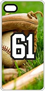 Baseball Sports Fan Player Number 61 White Rubber Decorative iphone 4s Case