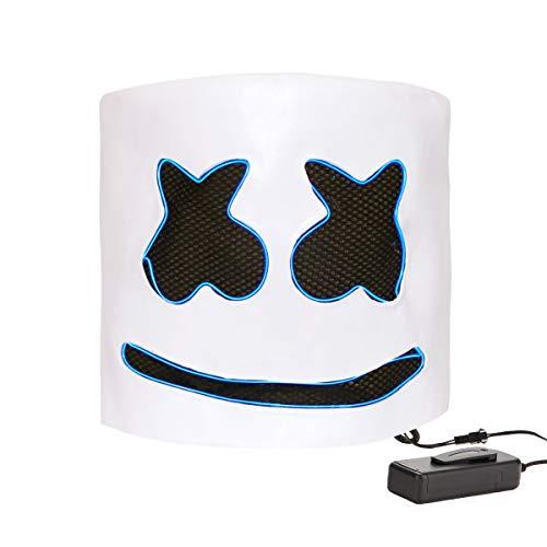 DJ Marshmello Helmet Costume Music Festival Parties Halloween Scary Mask LED Light Up Masks (DJ-Blue) -