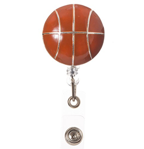 Artisan Owl - Basketball Retractable ID Badge Reel with Clip for Coaches and Sports Personnel (Basketball Owls)