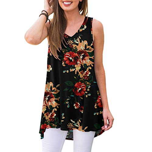 AWULIFFAN Women's Summer Sleeveless V-Neck T-Shirt Short Sleeve Sleepwear Tunic Tops Blouse Shirts (Flower Brown Black,S)