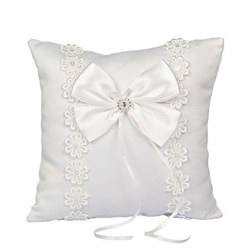 Somnr® Elegant Ring Bearer Pillow for Wedding Party Prom (White) by Somnr