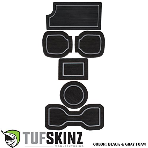 TufSkinz 2016-Up Toyota Tacoma 3RD GEN Interior Cup Holder Inserts w/QI Charger (Black/Gray, Automatic Transmission – Include QI Insert)