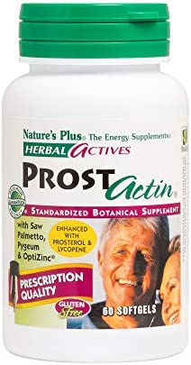 NaturesPlus Herbal Actives ProstActin – 200 iu Vitamin E, 60 Softgels – Healthy Prostate Gland Support, with Saw Palmetto, Pygeum Pumpkin Seed Oil – Gluten-Free – 30 Servings