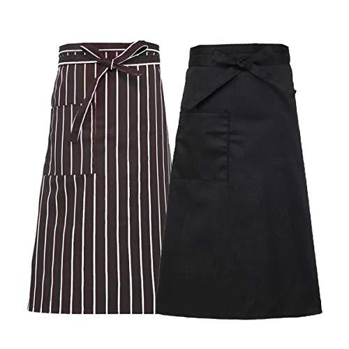 2 Pack Waist Apron Uaussi Unisex Half Home Kitchen Restaurant Bistro Craft Garden Apron for Men Women, Length to Knee