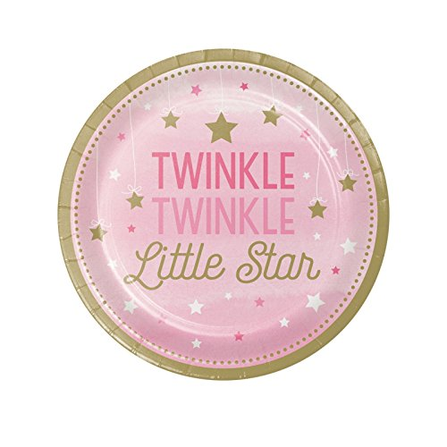 1st Birthday Girl Dessert Plate (Twinkle Twinkle Little Star Pink 7