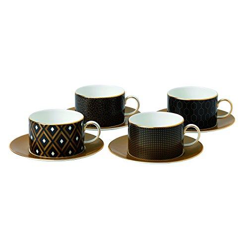 Wedgwood 40007555 Arris Accent Teacup And Saucer (Set of 4), Multi-Colored