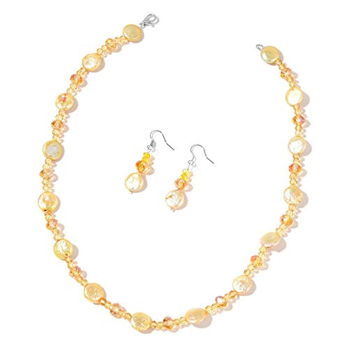 Freshwater Coin Golden Pearl, Champagne & Yellow Glass Beads Stainless Steel Set ()