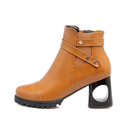 Buckle Boots Yellow Slip Urethane Resistant Womens BalaMasa Platform ABL10368 ICq1Z