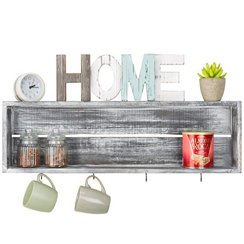 - MyGift Wall-Mounted Distressed Grey Wood Floating Shelf with 4 Mug Hooks