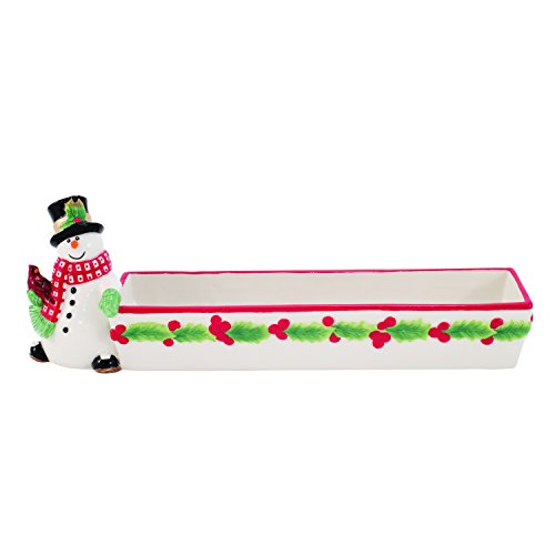 Holly Berry Snowman Collection, Cracker Cradle, Red/White