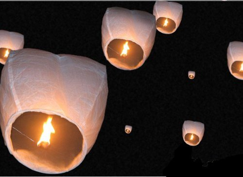 50 Small Size Fire Sky Chinese Paper Kongming White Lanterns Birthday Wedding Party ()