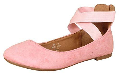 ANNA Dana-20 Women's Classic Ballerina Flats with Elastic Crossing Straps Mauve -