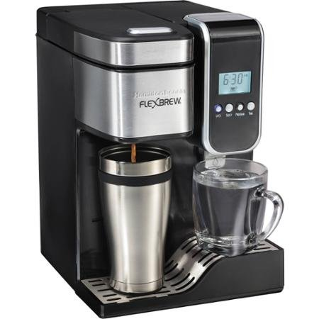 Hamilton Beach FlexBrew Programmable Single-Serve Coffee Maker with Hot Water Dispenser, 49988, Black/Stainless Steel
