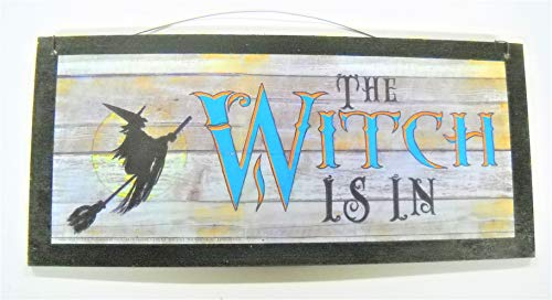 The Witch Is in Halloween Fall decorations wood home Decor Wooden Wall Art Sign (Wood Halloween Decorations)