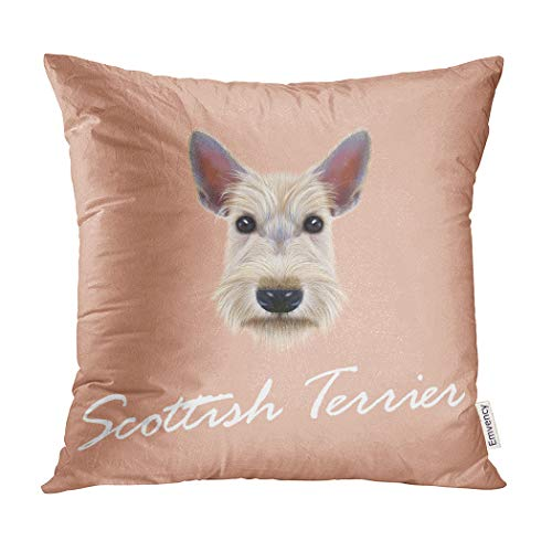 (Semtomn Decorative Throw Pillow Cover Square 20x20 Inches Pillowcase Breed Scottish Terrier Dog Portrait of on Pink Canine Pillow Case Home Decor for Bedroom Couch Sofa)