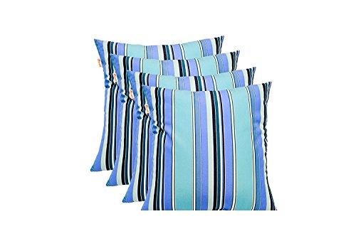 (Resort Spa Home Decor Set of 4 - Sunbrella Dolce Oasis - Blue Teal Navy White Stripe - In/Outdoor Square Throw/Toss Pillows (17