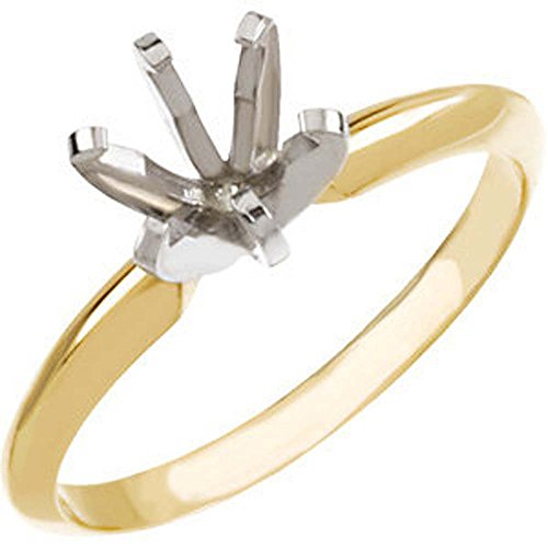 14k Yellow & White Gold 6-6.6mm Round Pre-Notched 6-Prong Solitaire Ring Mounting, Size 6 14k Yellow Gold Solitaire Mounting