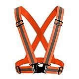 Safety Security Reflective Adjustable Vest Belt Gear Stripe for Night Running Biking - Orange