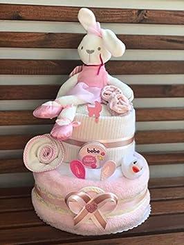 Taufe Windeltorte Neutral//Diaper Cake Babys-Cake Baby Geschenk//Geschenk zur Geburt f/ür M/ädchen und Jungen Babyparty