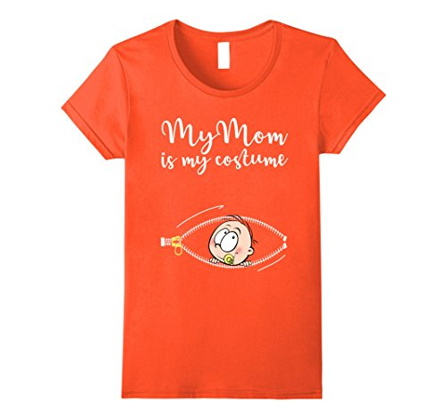 Family Halloween Costumes With Pregnant Mom - Womens My Mom Is My Costume Halloween T-Shirt Large Orange