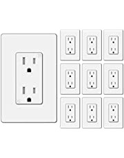 [10 Pack] BESTTEN 15A Tamper-Resistant Decor Receptacle, Standard Wall Outlet, Decorative Screwless Wallplate Included, for Residential and Commercial Use, UL/cUL Listed, White