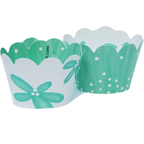 MINI Winter Wonderland Theme Cupcake Wrappers, Light Aqua Blue, Christmas Candy and Treat Packaging 24 Wraps, Confetti Couture Party Supplies