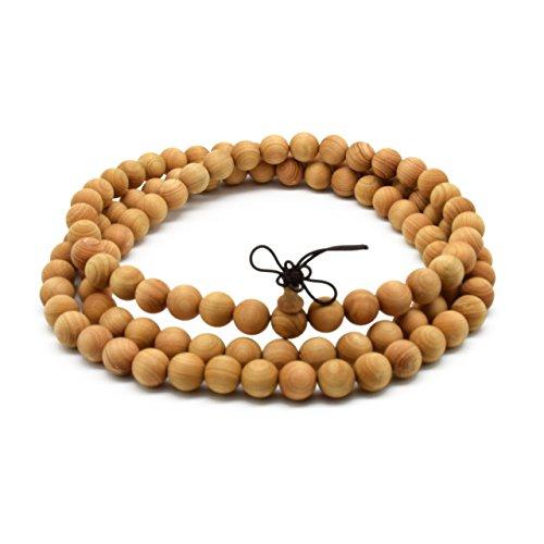 Zen Dear Unisex Natural Thuja Sutchuenensis Wood Beads Bracelet Prayer Mala Wristband Bracelet (10mm 108 - Bead Bracelet Mantra