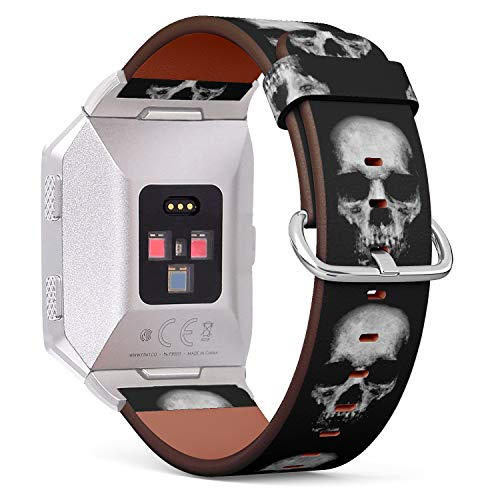 (Scary Skull?Spooky Halloween Theme) Patterned Leather Wristband Strap for Fitbit Ionic,The Replacement of Fitbit Ionic smartwatch Bands