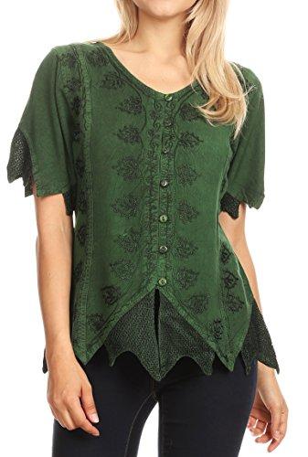 Crinkle Short Sleeve Blouse - Sakkas 1668 - Emma Womens Stonewashed V Neck Short Sleeve Blouse Top Crochet Button Down - Green - XL