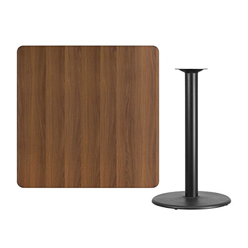 Offex 42'' Square Walnut Laminate Table Top with 24'' Round Bar Height Table Base