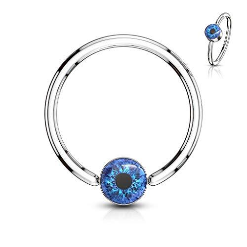 Amelia Fashion Eyeball Inlay Round Flat Cylinder Captive Bead Ring 316L Surgical Steel (Choose Size) (Blue 16GA(1.2mm) L.3/8