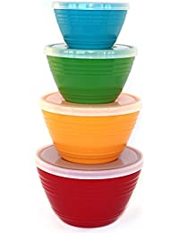 Access WholeMarket Nested Prep Bowl Set - 4 Plastic Mixing Bowls with Lids Included - Food Safe - BPA Free - 1 cup /... deliver