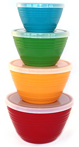 WholeMarket Nested Prep Bowl Set - 4 Small Plastic Mixing Bowls with Lids Included - Food Safe - BPA Free - 1 cup / 1 pint / 1.5 pints / 1 quart (Plastic Mixing Bowls Set compare prices)