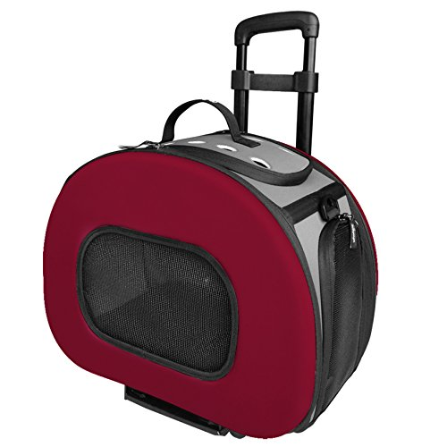 Wheeled Pet Carrier (Pet Life Final Destination' Airline Approved 2-in-1 Tough-Shell Wheeled Collapsible Travel Fashion Pet Dog Carrier Crate, One Size, Red)