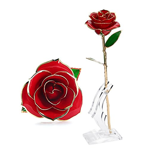 OUTAD Rose Flower, Best Gift for Valentine's Day, Mother's Day, Anniversary, Birthday Gift, Gift for Lover Mother Girlfriend, 24k Golden Plated Rose In Gift Box Red