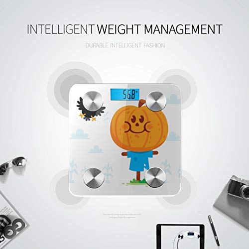 Halloween Sweets Clipart (Bluetooth Body Fat Scale Halloween Clipart Cute Sweet Scarecrow Pumpkin Smart Wireless Scale with LCD Display Measuring Body Weight Bmi and)