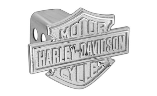 Harley-Davidson Trailer Hitch Cover Plug With 3D Monotone Bar & Shield (2 inch post) (Hitch Trailer Chrome Plug)