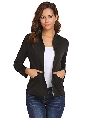 Concep Womens Fitted Blazers Casual Office Jacket Short Cardigan with Pockets Black S Black Fitted Jacket