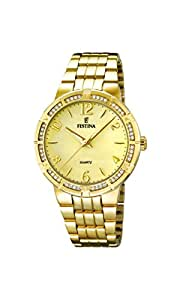 Festina F16704/2 - Reloj de pulsera mujer, acero inoxidable chapado, color dorado