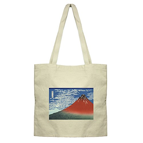 Flat Market Canvas Tote Red Southern Wind On Fiji (Hokusai) By Style In Print