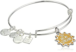 Alex and Ani Women's Charity By Design, You Are My Sunshine Charm Bangle Bracelet, Shiny Silver, Expandable