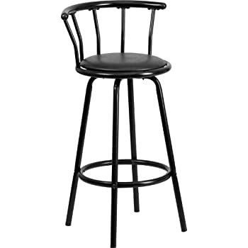 Flash Furniture Crown Back Black Metal Barstool with Black Vinyl Swivel Seat  sc 1 st  Amazon.com & Amazon.com: Flash Furniture Crown Back Black Metal Barstool with ... islam-shia.org