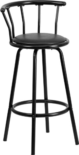 Flash Furniture Crown Back Black Metal Barstool with Black Vinyl Swivel Seat -