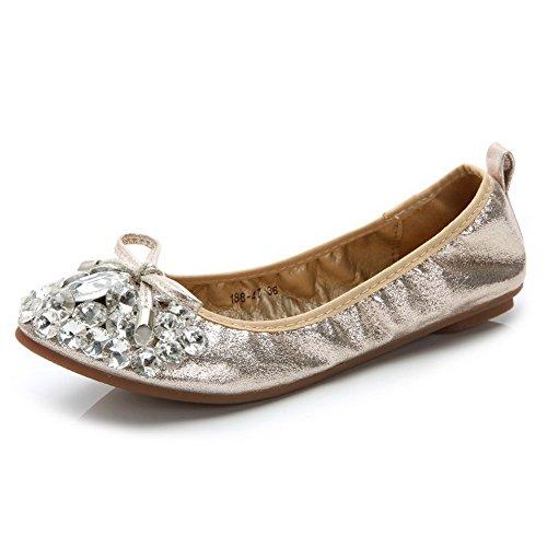 Amoonyfashion Womens Frosted Pull Op Puntige Dichte Teen Geen Hak Massief Platte Schoenen-schoenen Goud